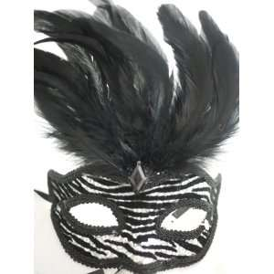 Black and White Venetian Animal Print Mask Feather