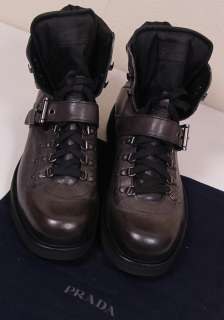 DARK BROWN LACED/BUCKLE LOGO VINTAGE HIKING BOOT 10.5 43.5e NEW