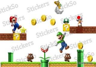 Super Mario Bros Scene REPOSITIONABLE WALL STICKER Nintendo wii MED to