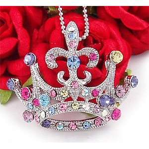 Multi Color Crown Tiara Pendant Necklace n296 Everything