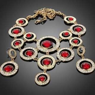 ARINNA posh red circles fashion earrings necklace set 18K GP Swarovski