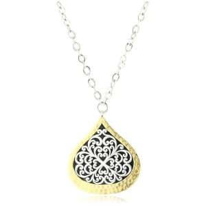 LOIS HILL Two Tone Flat Geo Bulb Pendant Long Chain Necklace