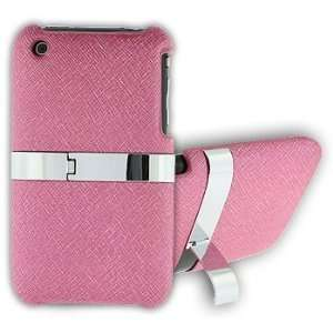 Apple iPhone 4 Pink Leather Steel Kick Stand Cover Case