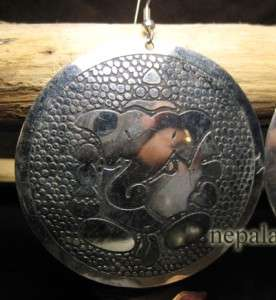 Silver tone Ganesh Emboss DISC Earrings india jewelry
