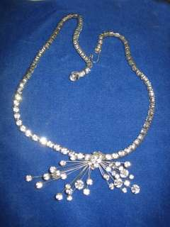 Vtg.Marvella Rhinestone Spray Necklace Prong Set