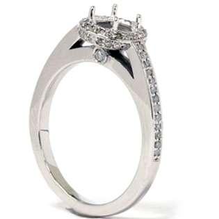 35CT Diamond Engagement Semi Mount Halo 14K White Gold Ring  Pompeii3