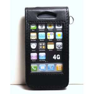 See   Through Black Leather Folio Flip Case / Pouch with Clip