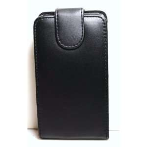 Black Leather Folio Flip Case / Pouch with Clip + Screen