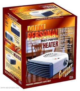 CZ25 Comfort Zone Portable Space Heater & Fan With Dual Heat Settings