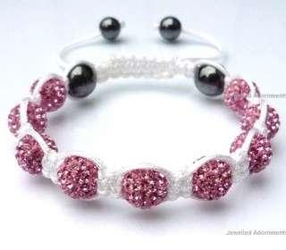 UK/US HOT Pink Crystal disco balls 10MM Bead Shamballa Bracelets +box