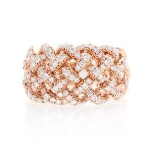 18k Rose Gold 2 Ct Diamond Woven Pave Ring Wedding Band Jewelry