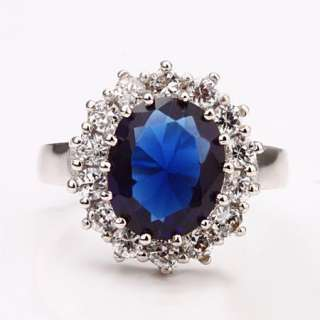R61 18K white Gold plated blue gem Swarovski crystal Ring size 8