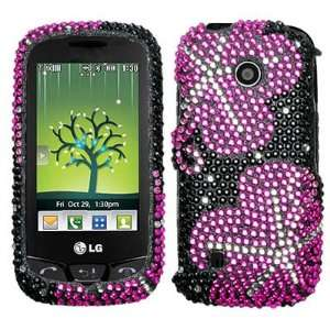 FULL DIAMOND PROTECTOR CASE   HOT PINK FLOWER Cell Phones