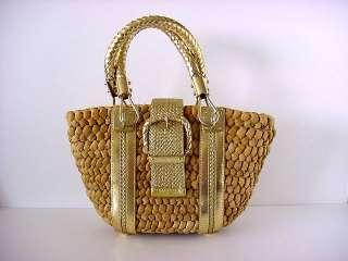 MICHAEL KORS Bag Wicker GR8 Gold leather details