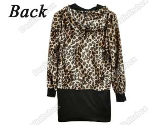 Sexy Womens Leopard Print Beautiful Jacket Hooded Zip Up Coat Long