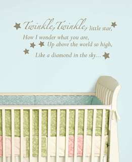 NURSERY RHYME Wall Art Stickers Twinkle Little Star Room Decor Decals