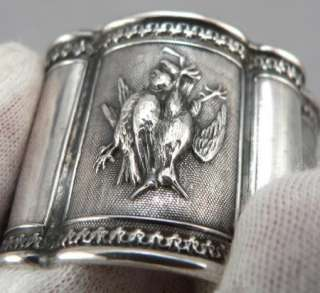 Victorian Coin or Sterling Solid SILVER NAPKIN RING Game Birds/Grapes