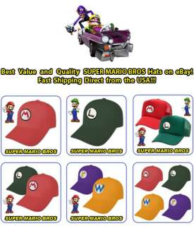 NEW SUPER MARIO & LUIGI COSTUME CAPS WARIO WALUIGI HATS