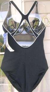 Ladies SPEEDO Solid Black White ONE piece Swimsuit NWT 827782897471