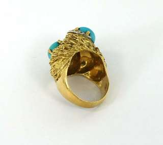 DESIGNER JGJLRY 18K GOLD, DIAMONDS & TURQUOISE RING