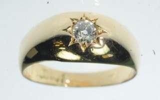 MENS LADIES 18K YELLOW GOLD ANTIQUE DIAMOND SOLITAIRE ESTATE RING