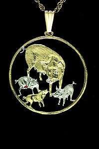 Pigs, Four Cut Coin Pendant Necklace 1 1/4 diameter