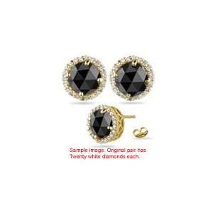 3.34 4.02 Cts Black & White Diamond Stud Earrings in 18K