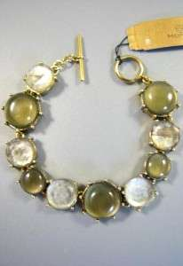 48   Monet Sage Green Circle Gold Tone Toggle Bracelet