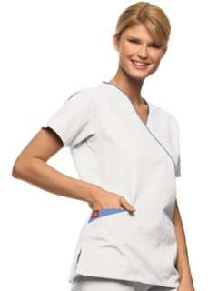 NWT Dickies SANDWASHED 11601 Mock Wrap Contrast Trim SCRUB TOP XS 2XL