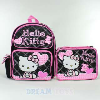 Sanrio Hello Kitty Checkered Black 14 Backpack and Lunch Bag Set