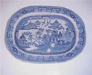 ANTIQUE BLUE WILLOW IRONSTONE STAFFORDSHIRE PLATTER C.1800S