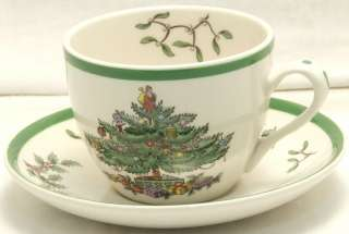 NWT SPODE SET OF FOUR CHRISTMAS TREE TEA CUPS & SAUCERS