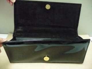 St. John Black Patent Leather Evening Bag Purse Handbag Mint!