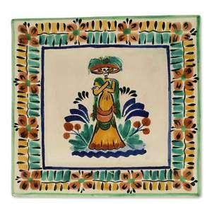 LA CATRINA Mexican Ceramic ART PLATE Dia de Los Muertos