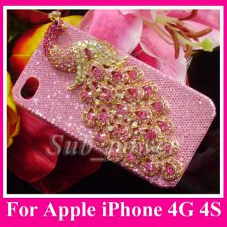 3D Rhinestone Pink peacock Bling Crystal Case cover for iPhone 4 4G 4S