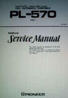 PIONEER PL 570 AUTO TURNTABLE SERVICE MANUAL BOUND ENG