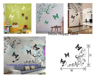 Art Decor Butterfly With Flower Wall Stickers Vinyl