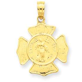 New 14K Yellow Gold Small St. Florian Badge Pendant