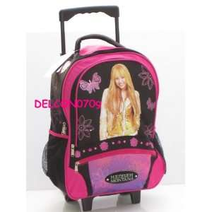 Hannah Montana Rolling Backpack with Wheels (Black & Pink