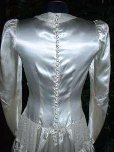 Vtg OFF WHITE IVORY Shiny SATIN Wedding Gown Dress LACE Ruched Bodice