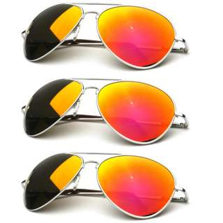 Multi Color Lens Mirrored Aviator Sunglasses Sale (3 Pack) 9011