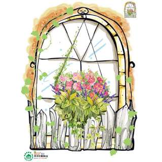 Flower Garden Window Wall Stickers Decor Vinyl Decals