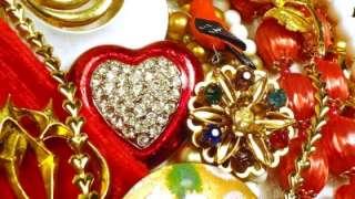 Vintage JEWELRY Estate Lot Costume RHINESTONES Beads Brooches RINGS