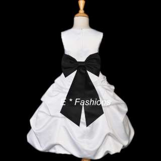 WHITE BLACK PAGEANT BAPTISM WEDDING FLOWER GIRL DRESS 2 4 6 7 8 9 10