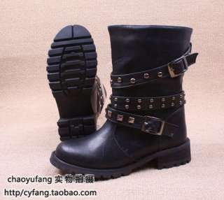 Lady Studs Buckle Strap Motorcycle Military Riding Boot