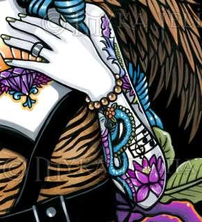 Rockabilly Baby Tattoo Angel Tiger Original Painting