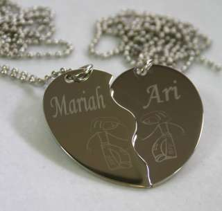 PERSONALIZED SPLIT HEART GIRL GIRL BFF NECKLACE SET