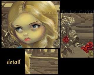Alice in Wonderland Roses Red cat art gothic BIG PRINT