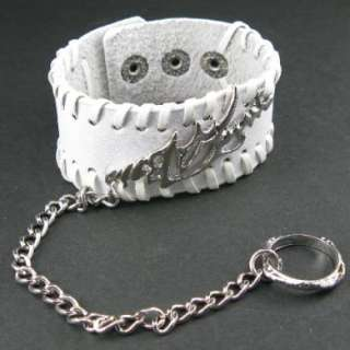 H525 Steel Fire +Finger Ring Rock Gothic Slave White Leather Men/Women