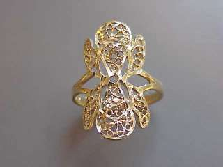 10k Yellow Gold   Diamond Cut, Filigree Ring   1980s 90s